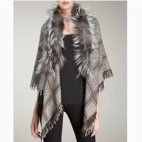 795964f4dbd4 Gucci Accessories | Survie Fox Fur Trim Shawl | Poshmark